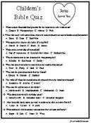 Childrens bible quiz, 36 multiple choice questions