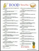 Food and Fast food trivia