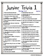 Junior Trivia Ages 5 to 9