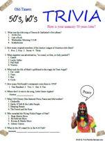 50's, 60's Trivia, Fun memories