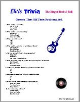 Elvis Trivia Quiz, King of Rock & Roll