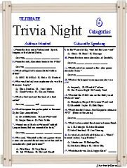 Trivia Night Fun, 6 categories