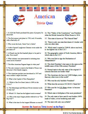 Playful image within american history trivia questions and answers printable