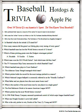 Baseball Trivia is a good challenge for your baseball knowledge