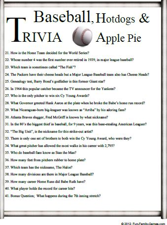 Baseball Trivia is a good challenge