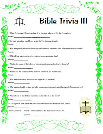 Bible Trivia Ii Covers Many Areas From Cover To Cover