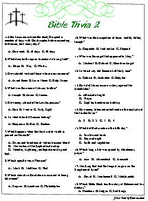 Bible Trivia quiz, 'Two and Three'