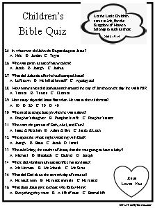 Childrens Bible Quiz, food for those growing minds