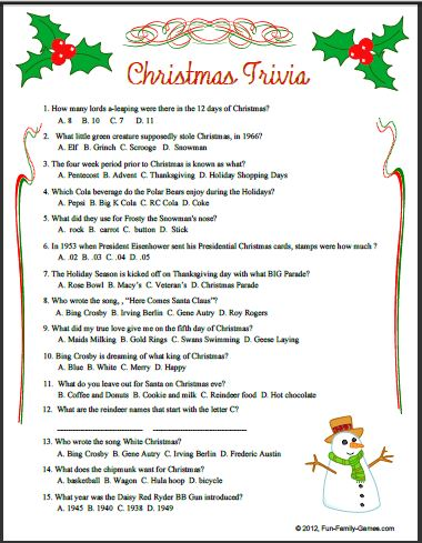 Playful image for printable christmas trivia