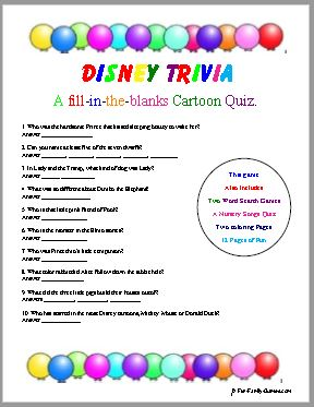 Disney Trivia, Nursery Rhyme quiz