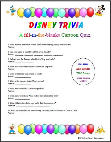 graphic about Printable Quizzes for Fun identify Disney trivia will check out your childhood cartoon working experience.