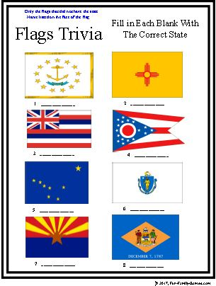 Flag Trivia, U.S. State flags and foreign country flags