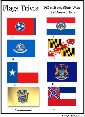 United States Flags trivia game with over 30 Country Flags