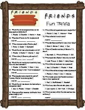 Friend S Trivia Covers A Tv Show That Has Been Popular For
