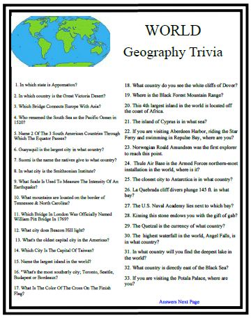 What type of questions are usually on geography tests?