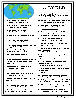 World Geography trivia will test your school days memory banks