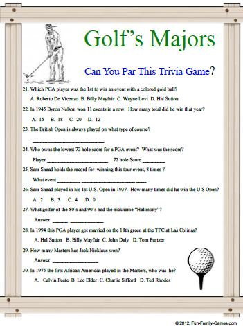This Golf 39 s Majors Trivia game