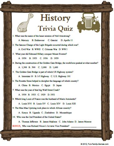 This History Trivia game is a fun look at various trivial matters.