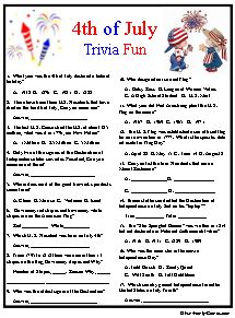 It's just a photo of Vibrant 4th of July Trivia Printable