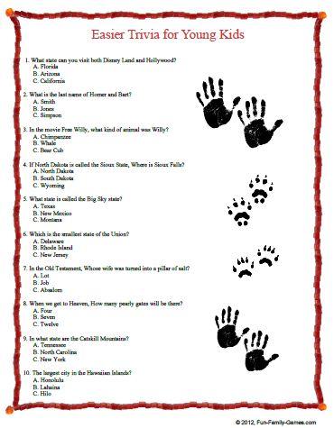 Inventive image inside printable trivia for kids