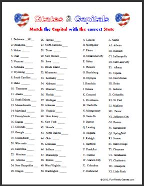 50 States and Capitals Printable Worksheet