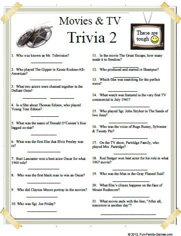 ... and TV trivia2 is a 65 Q & A Quiz on many years of entertainment