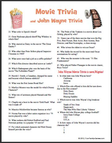 image relating to Fun Trivia Questions and Answers for Kids Printable named This online video trivia John wayne video game addresses a lot of many years.