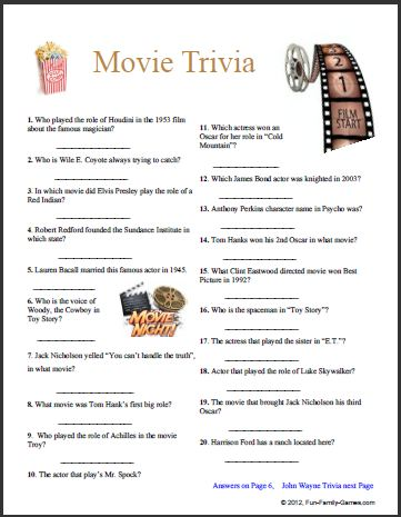 Canny image with printable movie trivia questions and answers