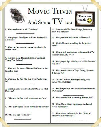 Movies and TV trivia
