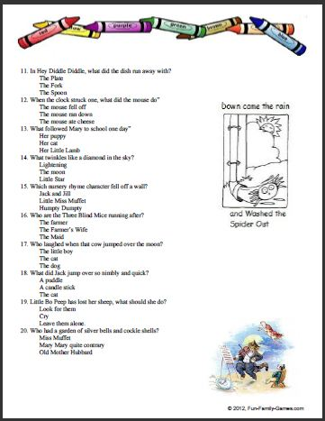 Preschool Nursery Rhymes Worksheets amp Free Printables