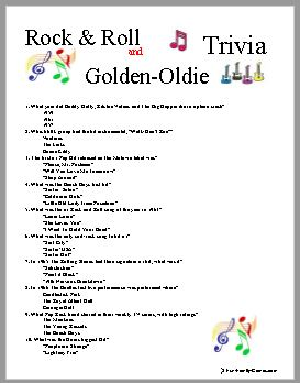 photo regarding 1950 Trivia Questions and Answers Printable identified as Individuals Golden Rock and Roll tunes will Hardly ever be out of music.