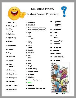 Rebus word puzzles, to challenge your party guests