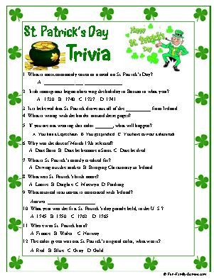 photo relating to St Patrick Day Trivia Questions and Answers Printable called St. Patricks Trivia for that Irish within just us all, idea
