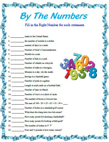 By-The-Numbers, a quick thinking game