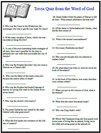 84 printable bible trivia questions and answers its for Furniture quiz questions