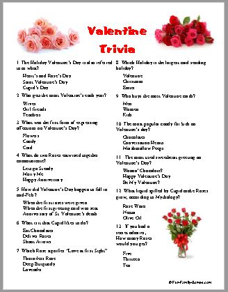 Valentine Trivia, sweethearts day