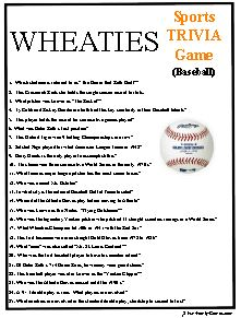 Wheaties Sports Trivia