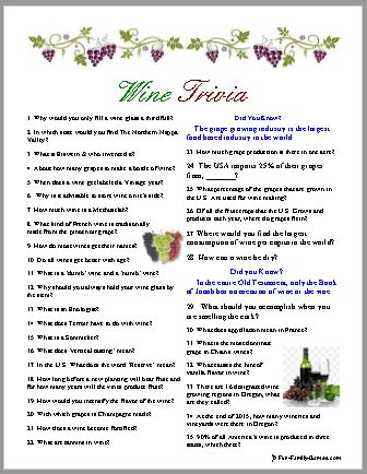 image regarding Printable Wine Trivia Questions and Answers identified as Our wine trivia video game is wealthy with wine information and facts, trivia and