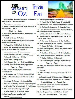 Our Wizard of Oz trivia covers a Super Movie Classic .