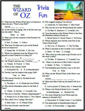 Wizard of oz movie quiz