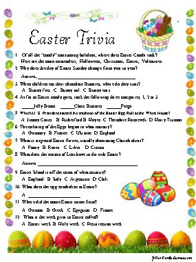 It is a picture of Crafty Easter Trivia Questions and Answers Printable